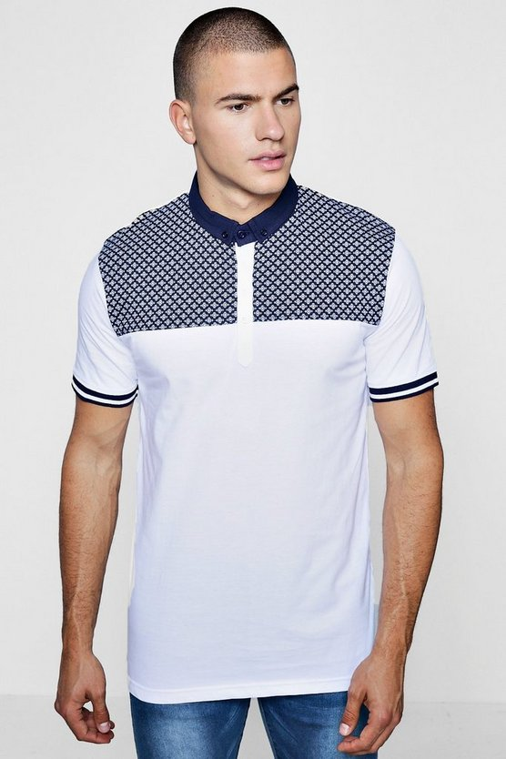 Short Sleeve Polka Dot Yoke Polo