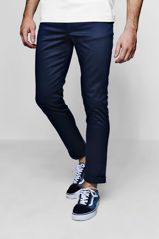 Mens Navy Tapered Fit Chino With Stretch