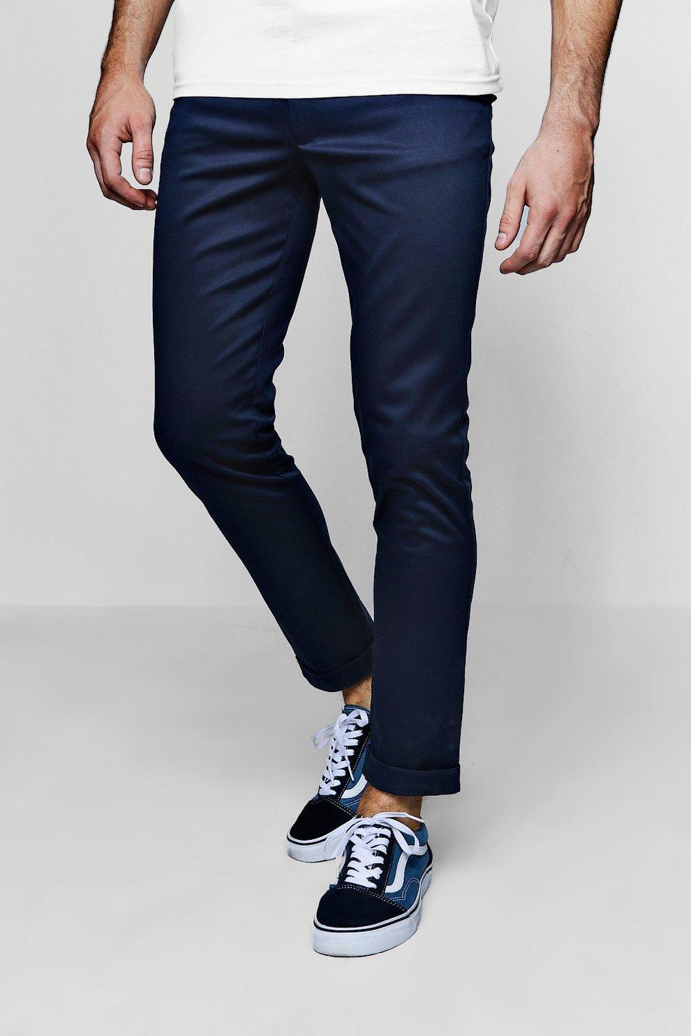 feba089ea4dd Pantaloni chino tapered fit blu oltremare con particolare elasticizzato