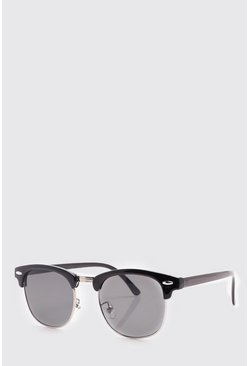 Mens Black Retro Silver Frame Sunglasses
