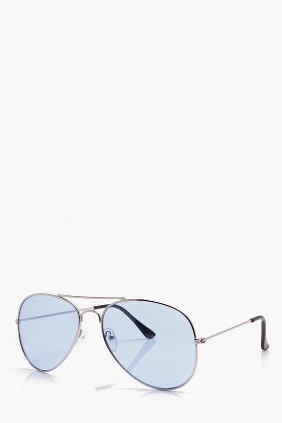 Silver Classic Aviator Sunglasses With Blue Lens