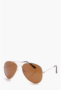 Mens Gold Classic Aviator Sunglasses With Brown Lens