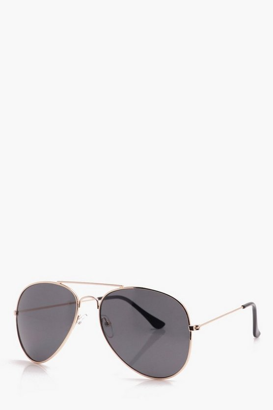 Classic Aviator Sunglasses With Black Lens