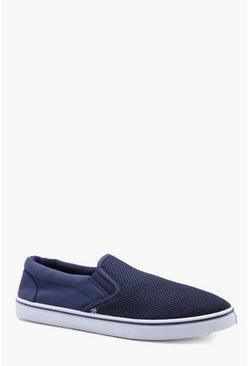 Mesh Slip On Plimsolls, Navy, МУЖСКОЕ