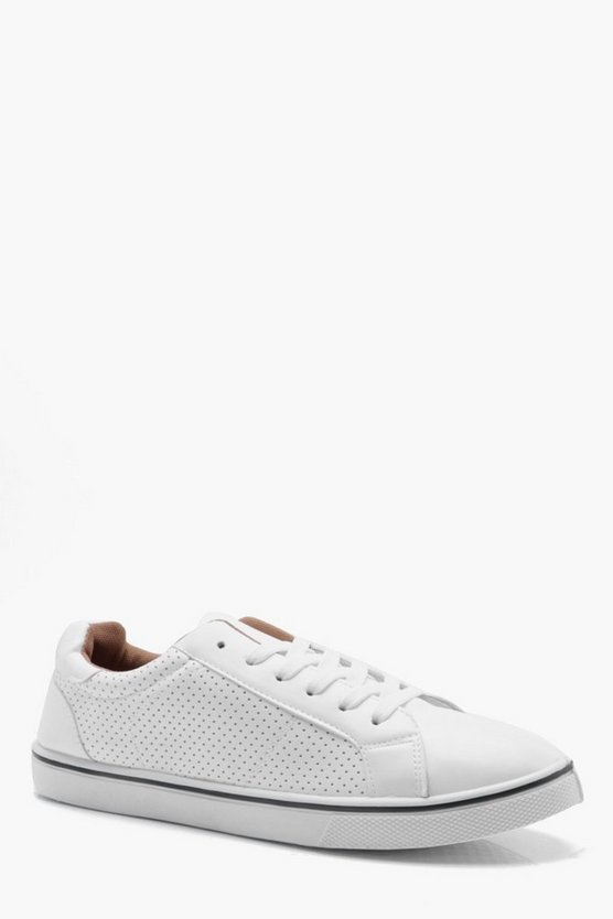 Punched Side PU Lace Up Plimsolls