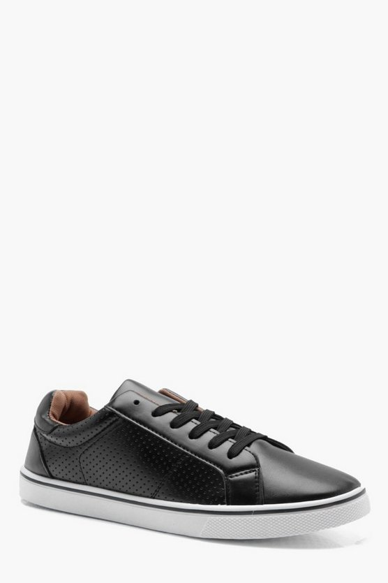 Mens Black Punched Side PU Lace Up Plimsolls