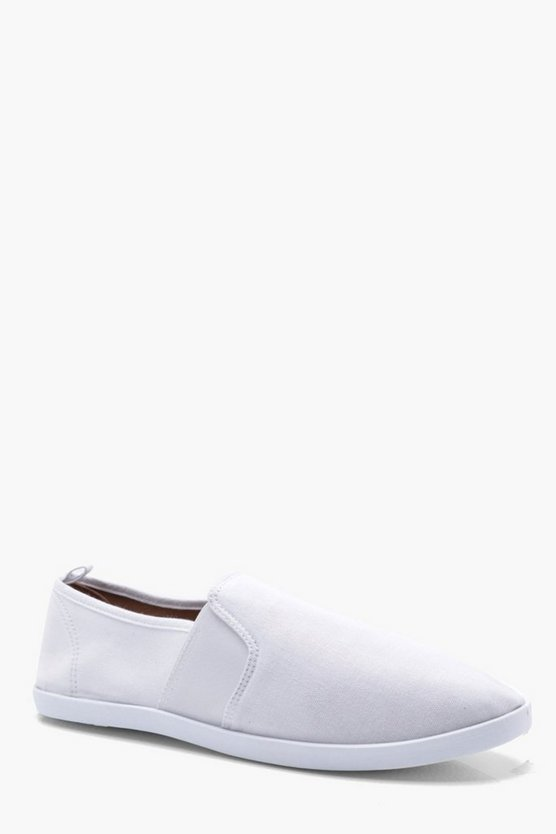Mens White Elastic Side Canvas Plimsolls