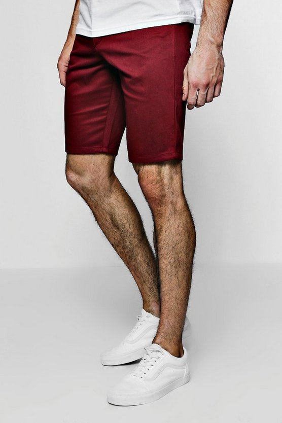Burgundy Slim Fit Chino Short