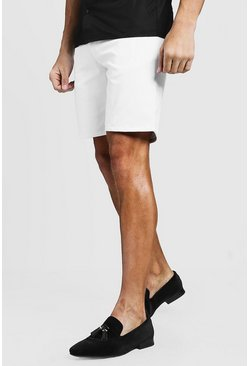 White Slim Fit Chino Short, МУЖСКОЕ
