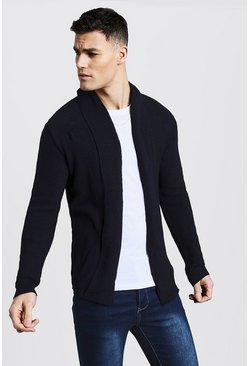 Navy Textured Edge To Edge Cardigan