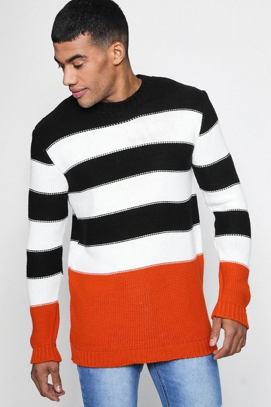 Mens Black Colour Block Stripe Jumper