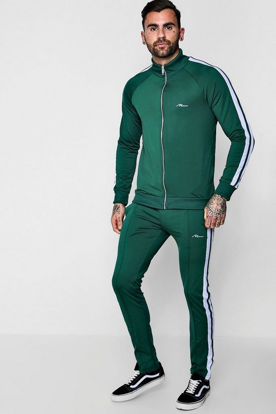MAN Signature Skinny Tricot Funnel Tracksuit