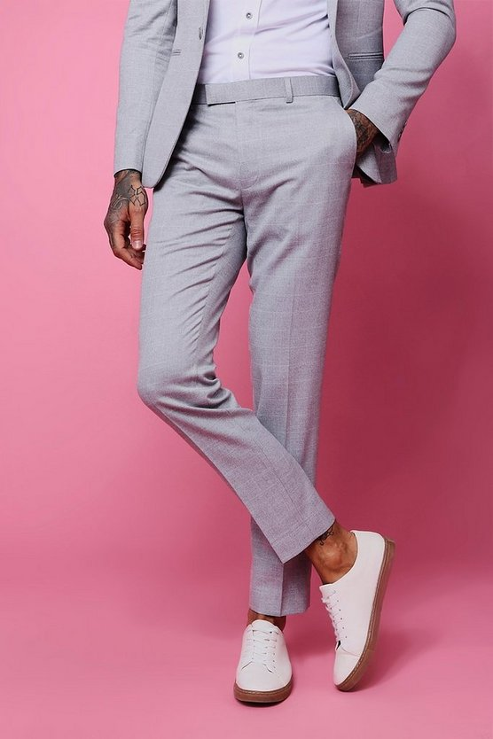 Mens Light grey Window Pane Check Skinny Fit Trouser
