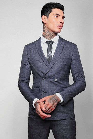 Mens Blue Crepe Skinny Fit Double Breasted Jacket