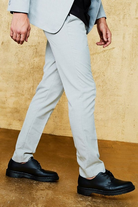 Grey Textured Skinny Fit Suit Pants