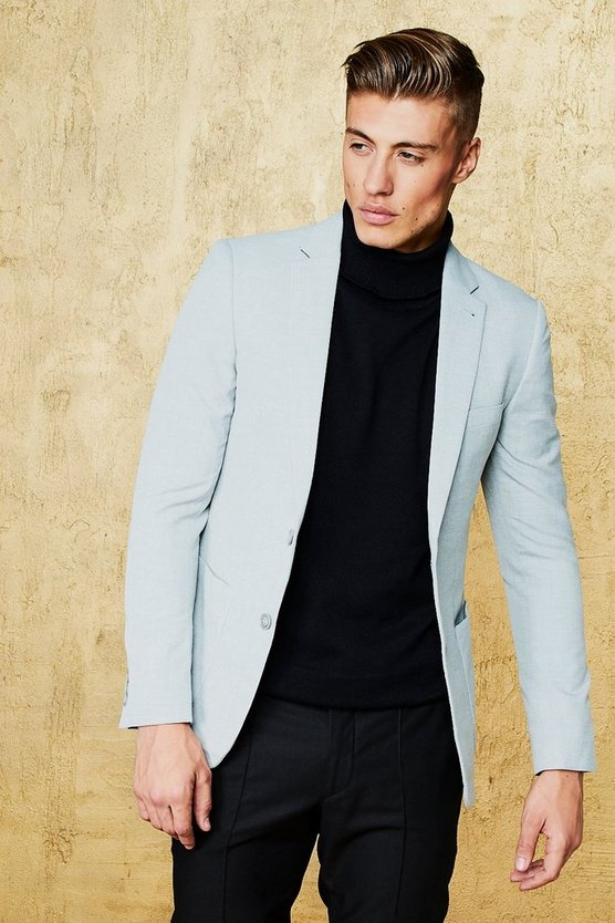 Grey Textured Skinny Fit Suit Jacket