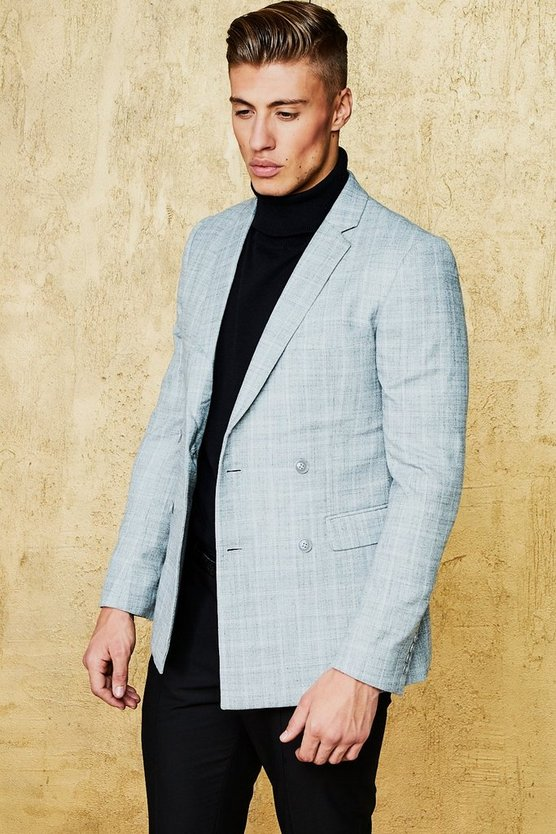 Textured Check Skinny Fit Blazer