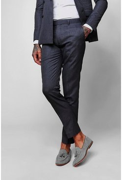 Mens Blue Crepe Skinny Fit Suit Pants