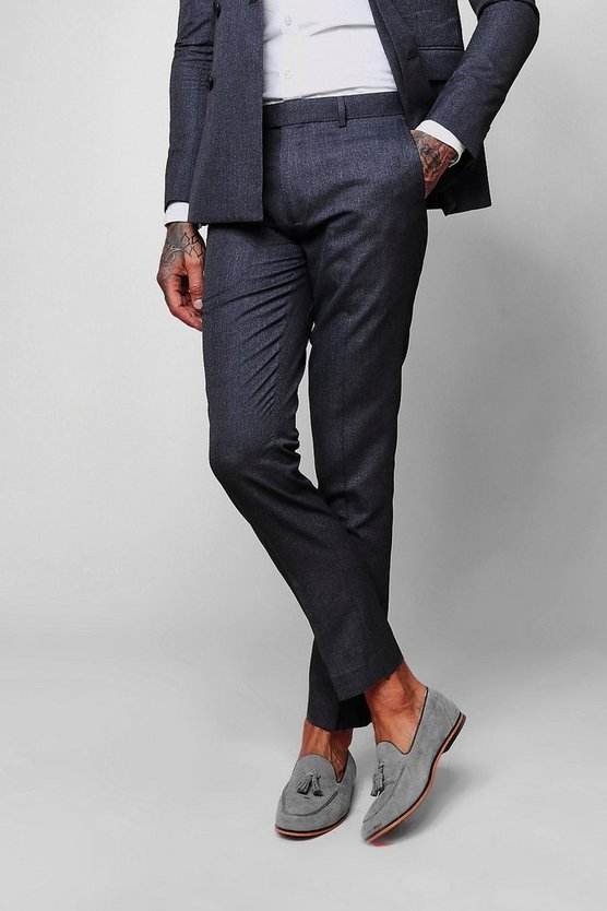 Mens Blue Crepe Skinny Fit Suit Trouser