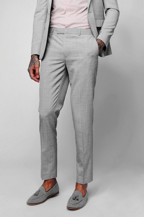 Mens Light grey Textured Over Check Skinny Fit Cropped Trousers