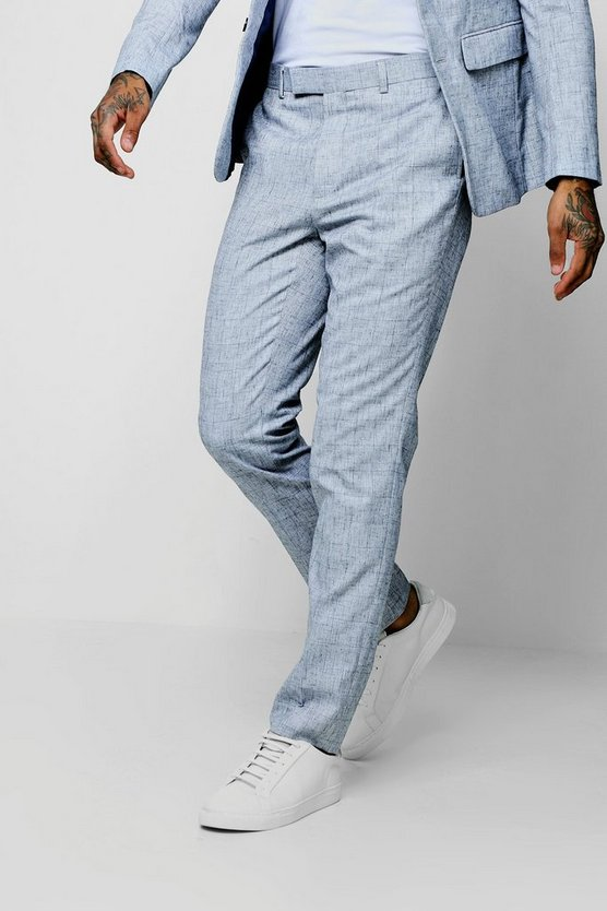 Pale Blue Check Skinny Fit Trouser