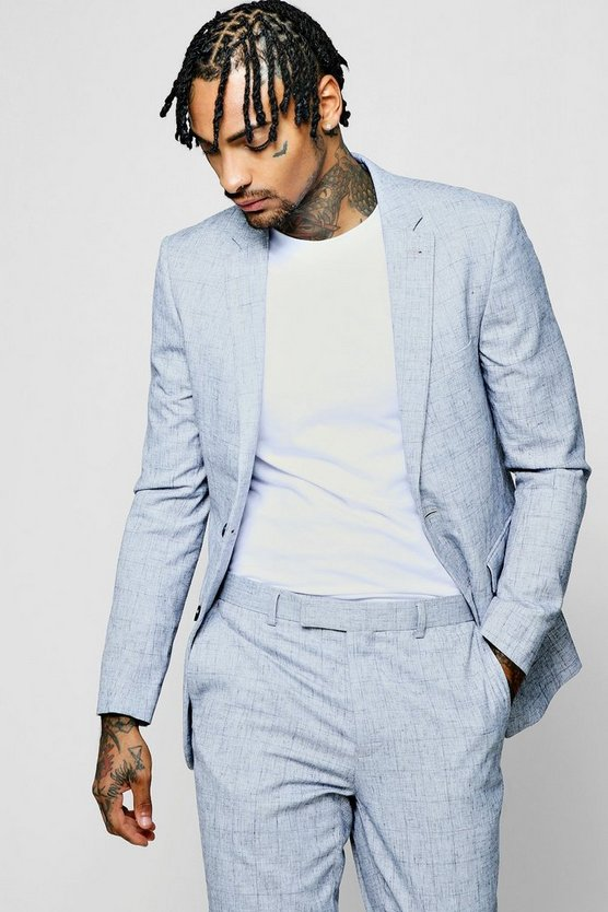 Pale Blue Check Skinny Fit Jacket