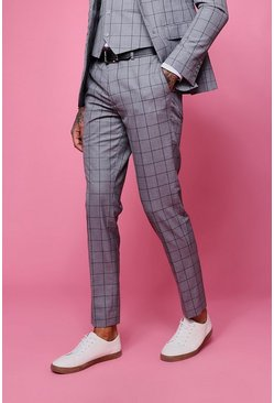 Mens Grey Window Pane Check Skinny Fit Trouser