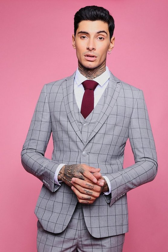 Mens Grey Window Pane Skinny Fit Jacket