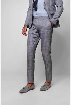 Mens Grey Grid Check Skinny Fit Pants
