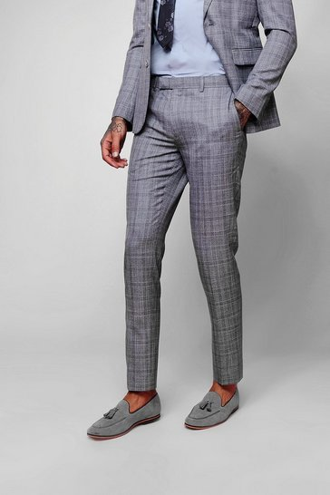 Mens Grey Grid Check Skinny Fit Trousers