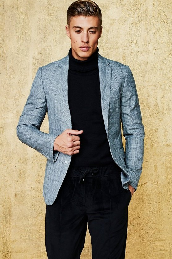 Grid Check Skinny Fit Blazer