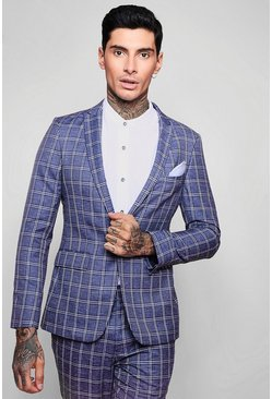 Mens Navy Summer Check Skinny Fit Suit Jacket