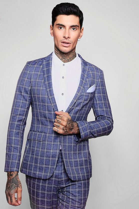 Summer Check Skinny Fit Suit Jacket