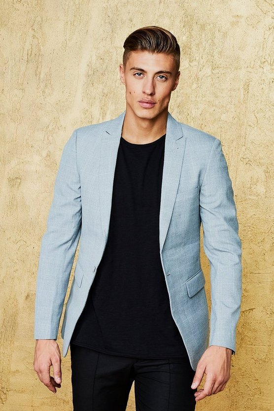 Textured Over Check Skinny Fit Blazer