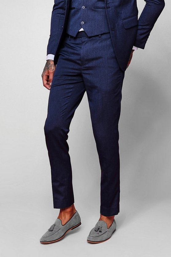 Mens Petrol Skinny Fit Plain Suit Trouser