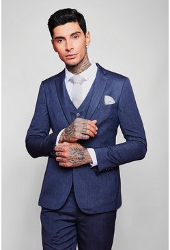 Mens Petrol Skinny Fit Plain Suit Jacket