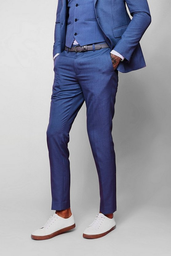 Mens Denim-blue Skinny Fit Plain Suit Trouser