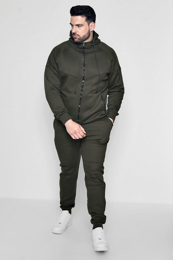 Big And Tall Skinny Hooded Panel Tracksuit