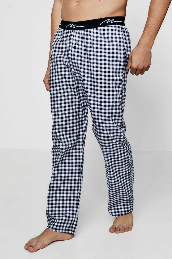 Mens Grey Navy And Grey Checked Pyjama Pants