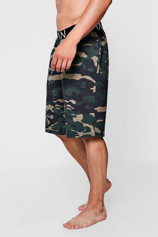 Mens Camo Lounge Short With MAN Waistband