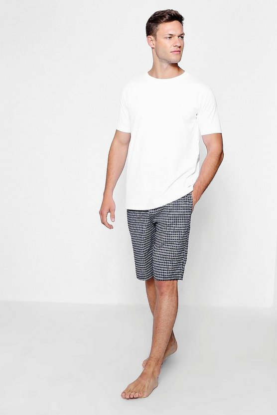 Mens Navy And Grey Checked T-Shirt and Short Set