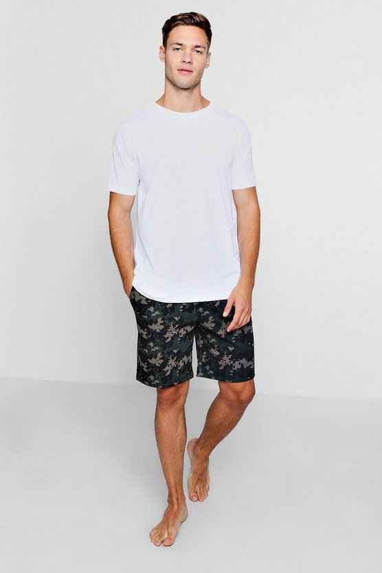 Mens White Geometric Camo T-Shirt And Shorts Set