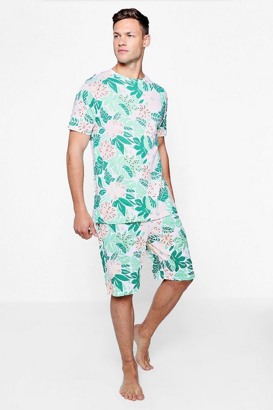 Crew Neck Tropical Floral Print Pyjama Set