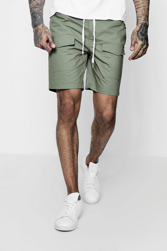 Mens Khaki Woven Drawstring Shorts With Pockets