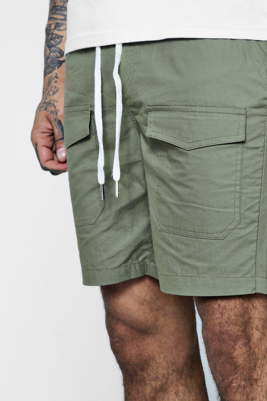 con cortos Pantalones punto y bolsillos ajustable de caqui cordón HfCqx4twC