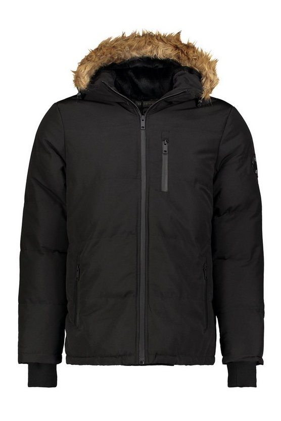 Quilted Faux Fur Hood Jacket by Boohoo Man