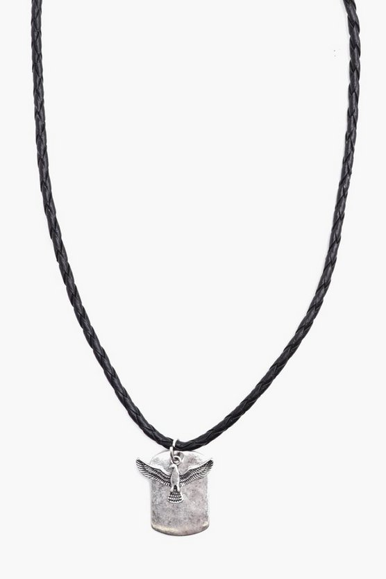 Dog Tag Necklace With Eagle Pendant
