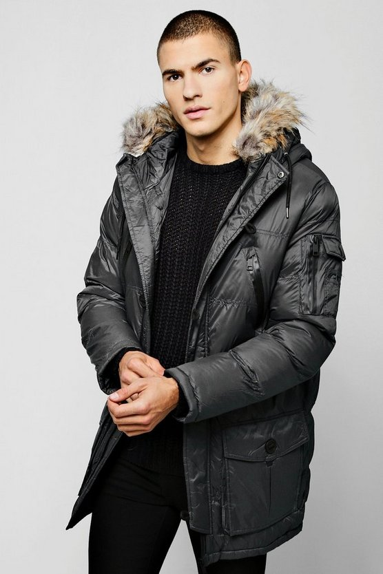 Mens Charcoal Hooded Quilted Parka