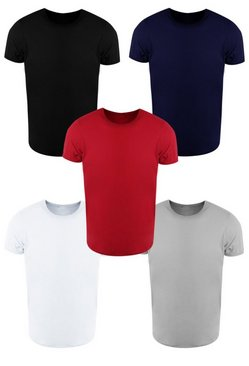 Mens Multi 5 Pack Slim Fit T-Shirts With Rolled Sleeve
