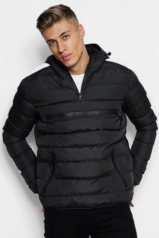 Contrast Panel Overhead Puffer Jacket